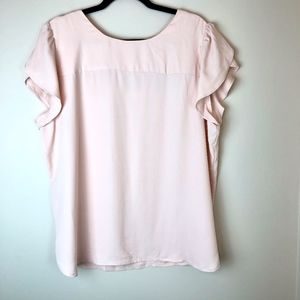 LOFT | Light Pink Cap Sleeve T-strap Blouse XL